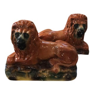 19th Century Antique English Staffordshire Lion Figurines - a Pair For Sale