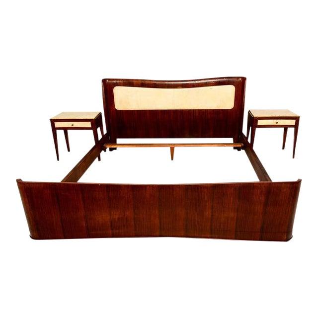 Italian Parchment & Walnut Queen Bedroom Set For Sale