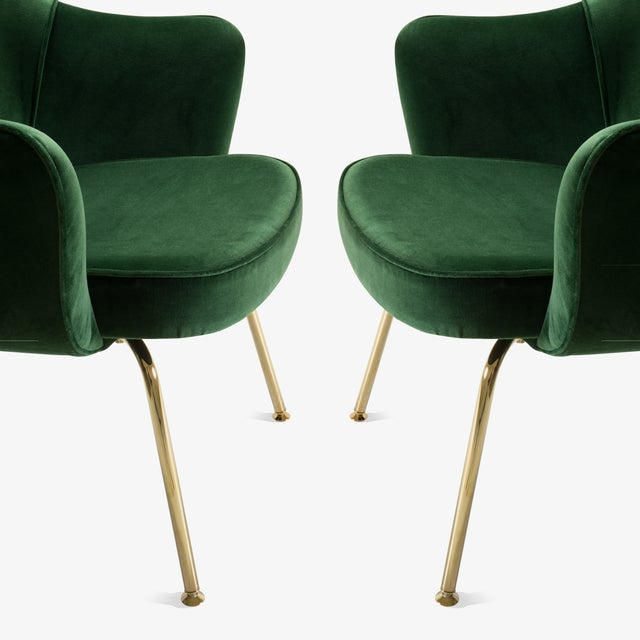 Mid 20th Century Original Vintage Saarinen Executive Arm Chairs Restored in Emerald Velvet, Custom 24k Gold Edition - Set of 6 For Sale - Image 5 of 9