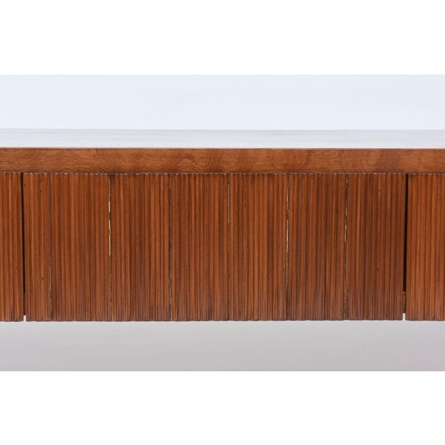 Italian Modern Walnut and Glass Top Two-Tiered Low Table, Paulo Buffa Attributed For Sale - Image 10 of 11