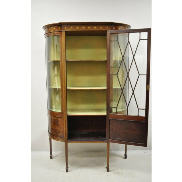 Wood English Edwardian Satinwood Inlay Bowed Curved Glass China Display Cabinet Curio For Sale - Image 7 of 13