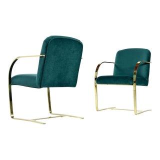 Baughman Style Forest Green Velvet Flat Bar Cantilever Brass Armchair Set of 2 For Sale