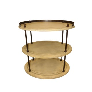 Kreiss Traditional 3-Tier Leather Wrapped Accent Table For Sale
