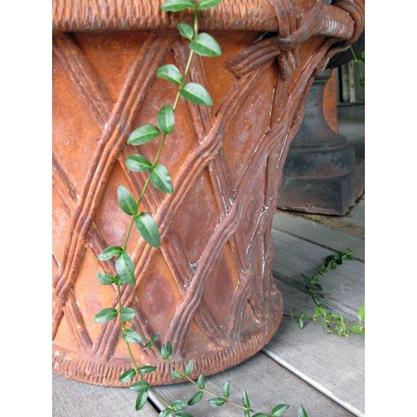 A Large-Scaled English Terracotta Basket Weave Garden Urn For Sale - Image 4 of 4