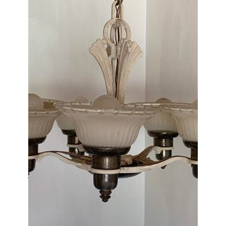 Antique Art Deco Ceiling Chandelier With Five Two Tone Set-In Shades 1930s Preview