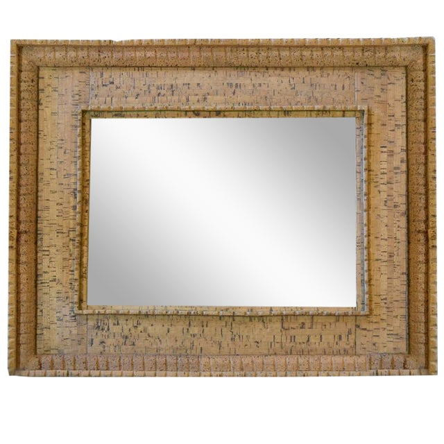 Italian Mid-Century Cork Frame with Mirror - Image 1 of 4