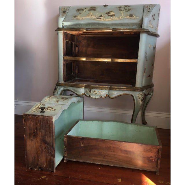 18th/19th Century Venetian Rococo Decoupage & Painted Chinoiserie Writing Desk For Sale - Image 11 of 13
