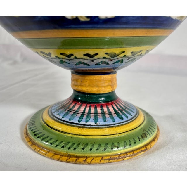 Vintage Italian Majolica Two-Handled Urn For Sale In West Palm - Image 6 of 12
