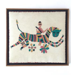 Vintage Mid-Century Embroidered Tribal Art For Sale