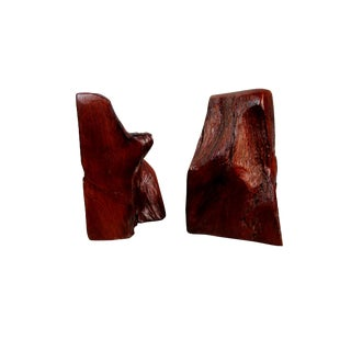 Natural Wood Bookends - a Pair For Sale