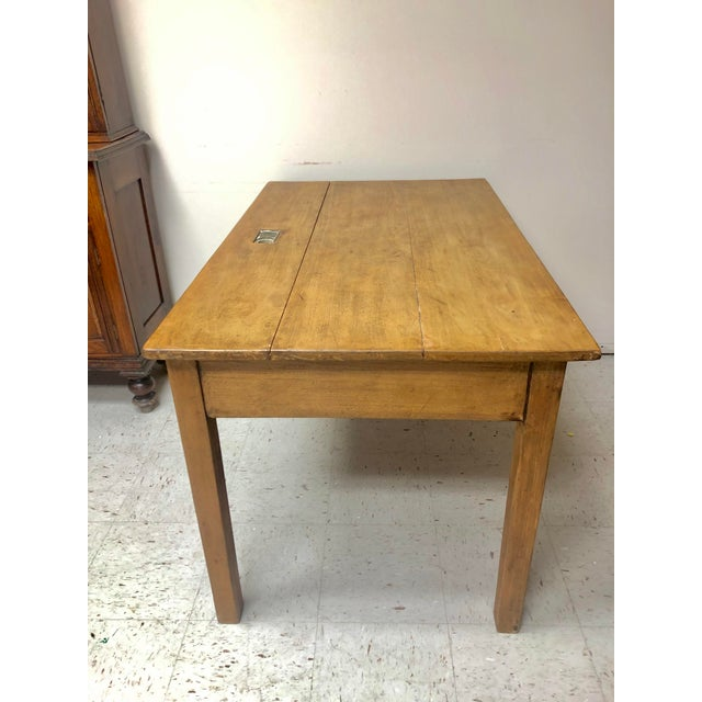 French Antique Country Farm Table / Desk With Two Drawers For Sale - Image 3 of 13