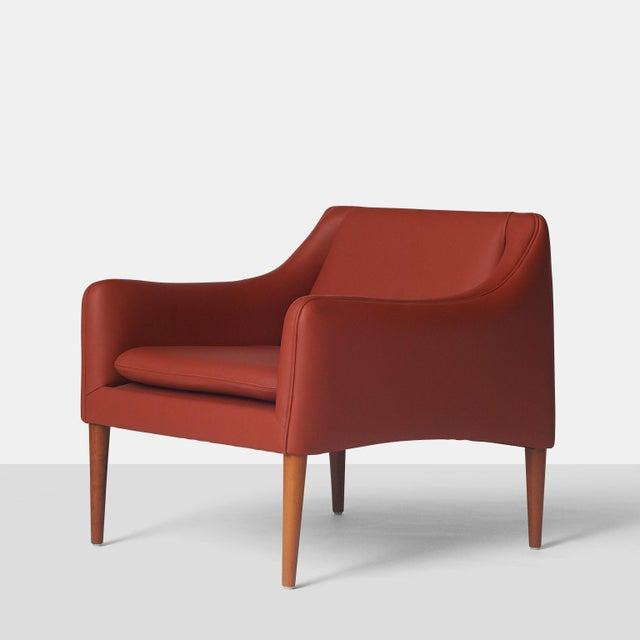 Hans Olsen Club Chair A club chair by Hans Olsen, newly re-finished and re-upholstered in a persimmon colored leather,...
