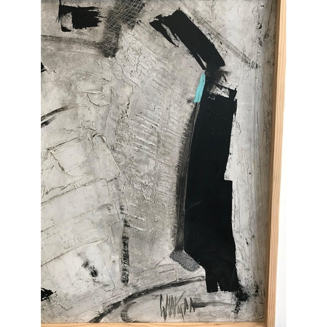 1960s Abstract Black and White Painting by Graham Harmon For Sale - Image 4 of 9