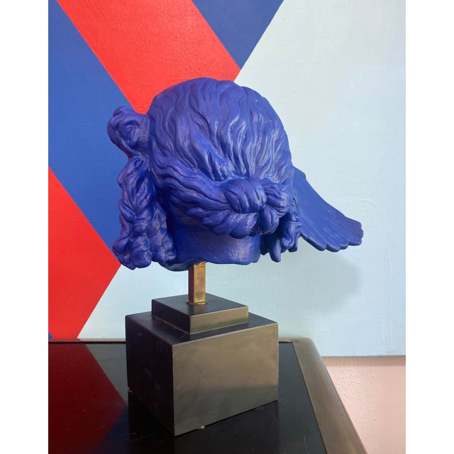 Vintage Neoclassical Greek Plaster Sculpture of Hypnos in Klein Blue For Sale - Image 4 of 6
