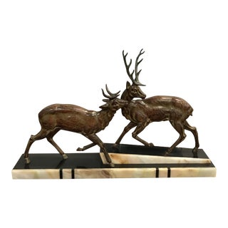 1940s French Art Deco Two Cervus Bronze Sculpture on Marble Base For Sale