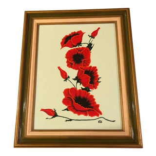 """Poppies"" Original Vintage Acrylic Painting For Sale"
