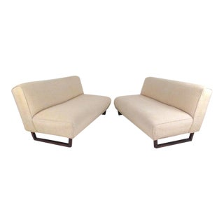 Vintage Modern Sled Leg Slipper Sofas - A Pair For Sale
