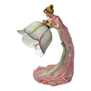 Vintage Art Nouveau Style Italian Hand Painted Table Lamp of Woman and Tulip Flower Signed Antonio Zen For Sale