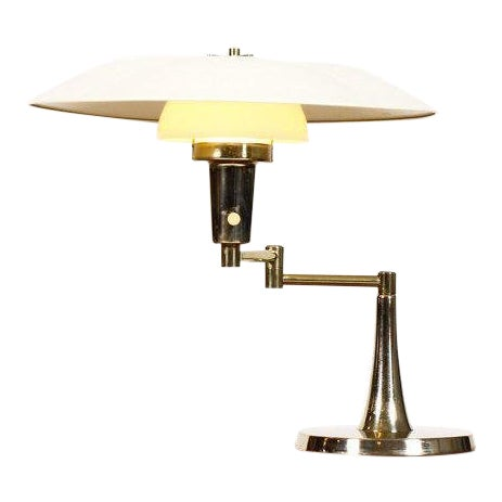 Mid Century Vintage Brass Swing Arm Table Desk Lamp For Sale
