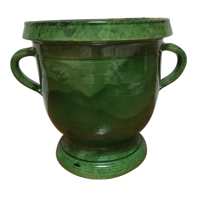 19th Century French Green Terra Cotta Pitcher For Sale