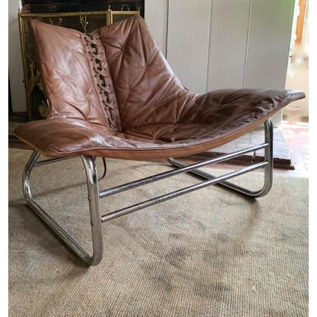 Mid-Century Modern Mid Century Chrome and Leather Corset Tie Back Sling Chair For Sale - Image 3 of 13
