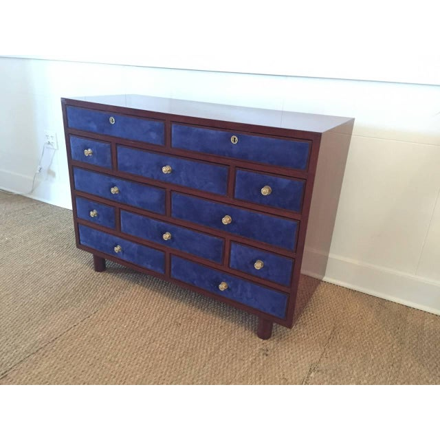 Rare 12 drawers clad with vibrant and rich Midnight Blue suede, newly replaced Suede - all original hardware (gold-plated...