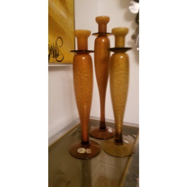 Imported Custom Italian Vetri Artistia Trio of Elegant Tall Amber Murano Art Glass Candle Holders For Sale In Miami - Image 6 of 6