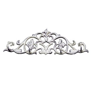 Mid 19th Century Rococo Style Cast Iron Distressed White Wall Hung Coat Hook For Sale