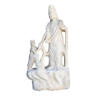 Carved Quartz Quan Yin Statue For Sale
