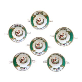 Vintage Chelsea Bird Green by Myott Staffordshire Double Handled Bowls - Set of 6 For Sale