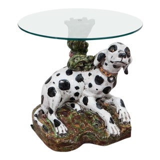 1960s Italian Occasional Glass Top Table With Ceramic Dalmatian as Base For Sale
