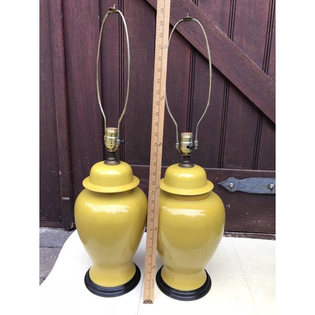 Vintage Ginger Jar Style Yellow Lamps - A Pair - Image 4 of 7