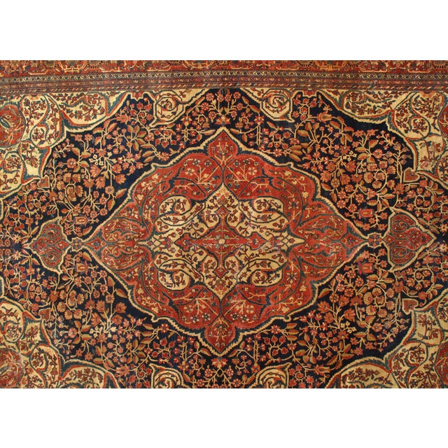 Late 19th Century Late 19th Century Antique Persian Sarouk Farahan Rug - 8′5″ × 12′4″ For Sale - Image 5 of 6