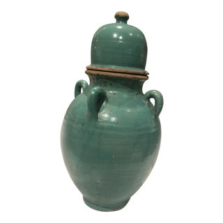 Moroccan Multihandle Turquoise Jar For Sale
