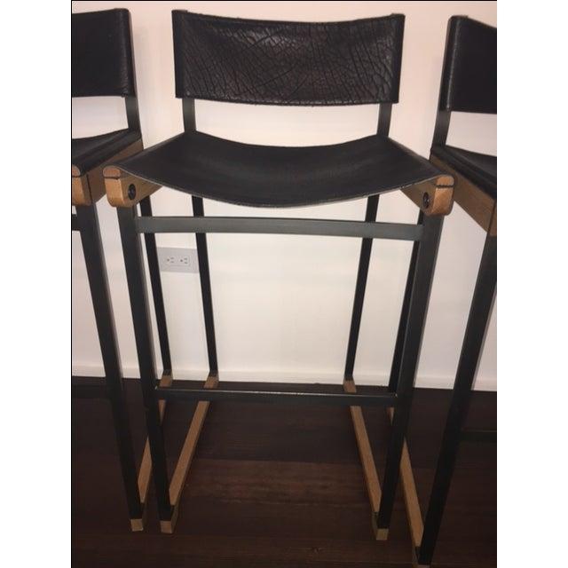 Token Black Leather Bar Stools - Set of 5 - Image 7 of 10
