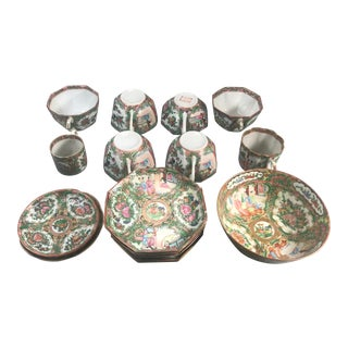 19th Century Chinese Export Rose-Medallion Porcelain Wares - 18 Pieces For Sale