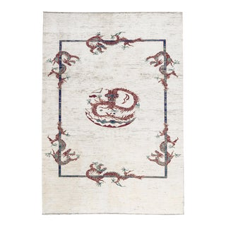 Contemporary Dragon Print Hand Woven Rug 6'10 X 9'6 For Sale
