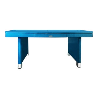 Yawman and Erbe Blue Panel Leg Table For Sale