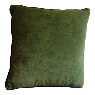Large Green Ultra Suede Pillow For Sale