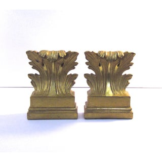 Late 20th Century Vintage Gold Gilt Borghese Acanthus Leaf Bookends - a Pair Preview