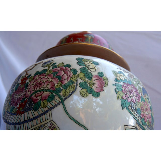 Chinese Vintage Fuchsia, White & Green Ginger Jar Vase With Lid For Sale - Image 3 of 12