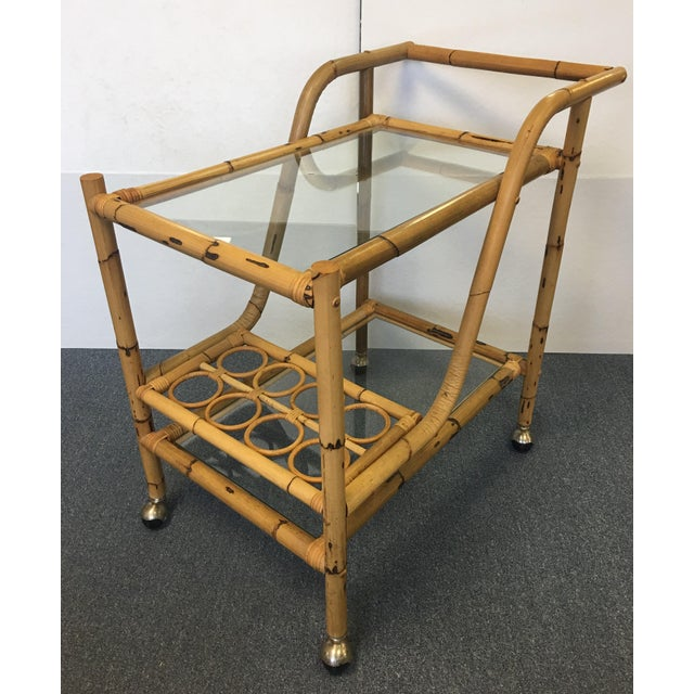 Asian Vintage Bamboo & Rattan Bar Cart For Sale - Image 3 of 6