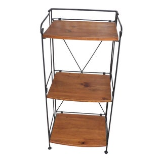 French Provincial Petite Wood & Wire Shelf For Sale