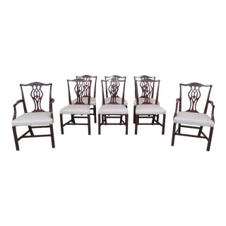 1940s Vintage Beacon Hill Chippendale Mahogany Dining Room Chairs- Set of 8 For Sale