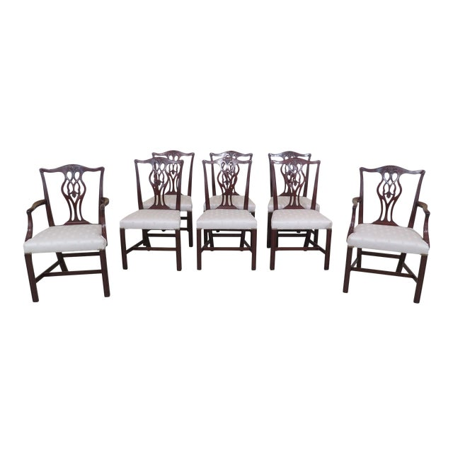 1940s Vintage Beacon Hill Chippendale Mahogany Dining Room Chairs- Set of 8