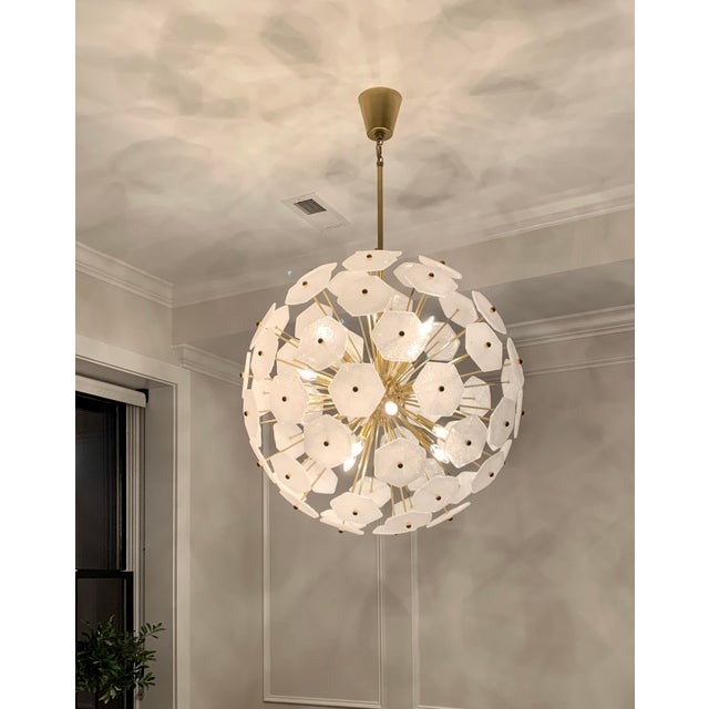 Stunning chandelier, constructed of Pulegoso glass. Brass color. 32.5 inches diameter. Statement piece.