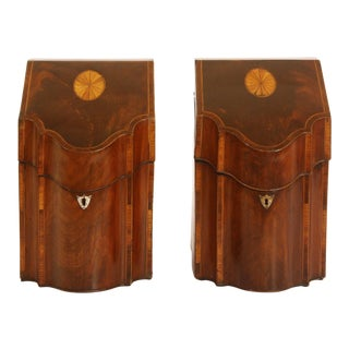 Pair of George III Knife Boxes Decorated with Ebony and Boxwood For Sale