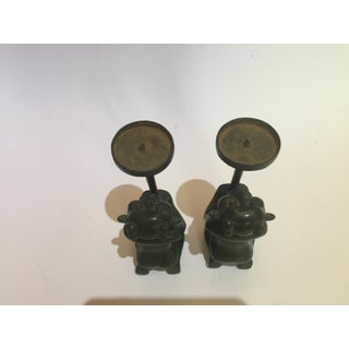 Chinese Mythological Green Goblins Spinning Plates Bronze Candle Holders - a Pair Preview