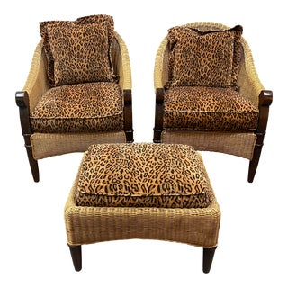 Custom Cheetah Print & Wicker Chairs + Ottoman - 3 Pieces For Sale