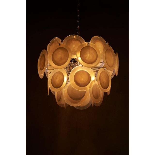 2000 - 2009 One of Two White Iridescent Murano Glass Disc Chandelier Attributed to Vistosi For Sale - Image 5 of 8
